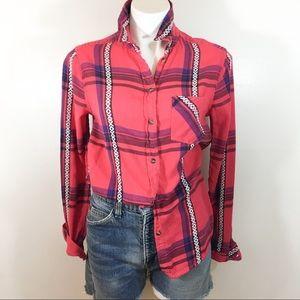 American Eagle Boyfriend plaid shirt size Medium